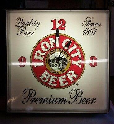 Vintage Iron City Beer Light/Clock