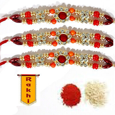 Fancy Rakhee Rakhi rakshabandhan on ebay Shubh Tikka USPS SAME DAY SHIPP US SELL