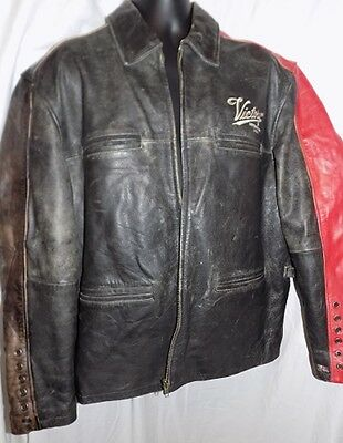 VICTORY USA MOTORCYCLES LEATHER JACKET blk & red  grommets broken in sz XL