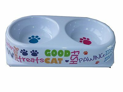 Double Bowl Dog Cat Puppy Pet Bowl Non Slip Food Water Feeding Dish Feeders