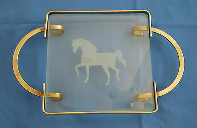 Vintage Mid Century GLASS Vanity Bar TRAY Etched with Prancing HORSE Image