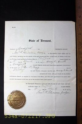 1910 State of Vermont Probate Court Estate, Eliza Rugg Document Signed by Judge