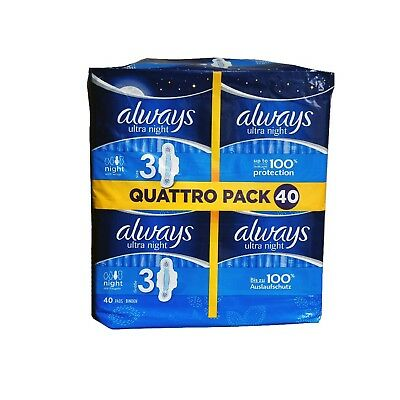 Always Ultra Night with Wings Size 3 Pads 40 Value Pack