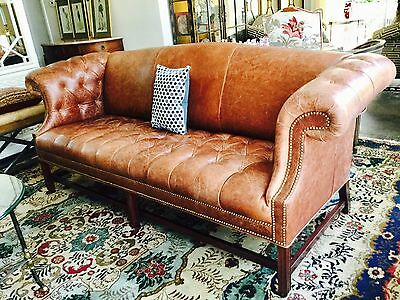 Leather Chippendale tufted  Sofa vintage