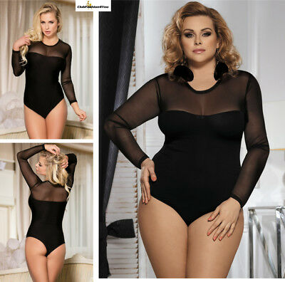 PLUS SIZE DESSOUS | Black Plus Size Long Sleeve Teddy With Yarn | M-4XL R80373P