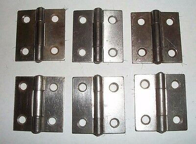 "6 Vintage Steel 1 1/2"" CABINET DOOR HINGES--by McKinney--Unused"