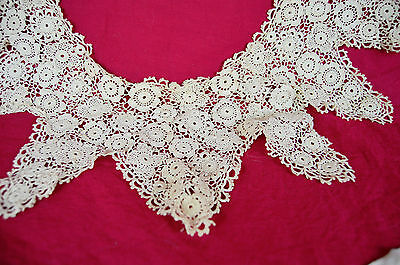 Antique Victorian Irish Crochet Collar & Cuffs Floral Pointed Lace