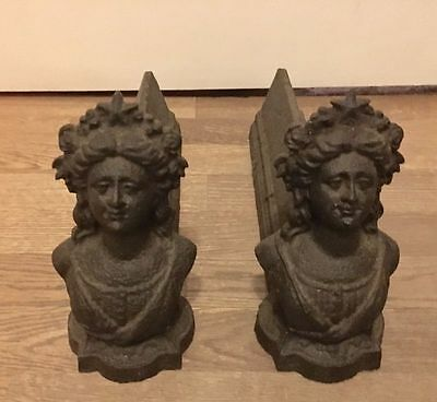 Antique French Iron Cast Firedogs Andirons Queen Of France 19Th Century