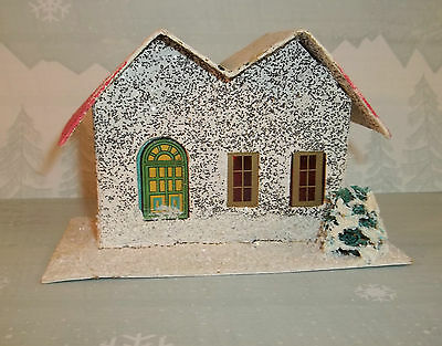 Vintage Christmas PUTZ HOUSE White & Pink Made in JAPAN C602