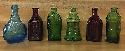 6 Wheaton Mini Bitters Glass Bottles Fischs Blue Green Red Cape May Apple Wahoo
