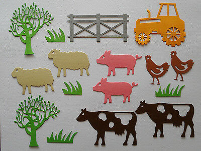 Farm Animals Cows Pigs Sheep Hens Tractor Paper Die Cuts Set Scrapbooking