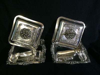 Anique Silver On Copper Pair Vegetable Dishes From 19 Century Englnd.ornate.