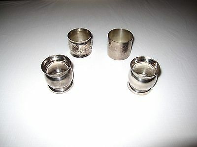 4 Assorted Vintage Antique Silver Plate Napkin Rings DIFFERENT TYPES LOT#3