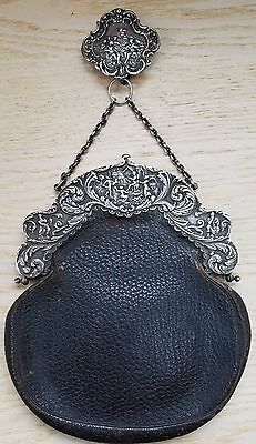 Estate Sterling Silver Leather Deitsch Bros. NY Repousse Purse w/ Hanger WOW!