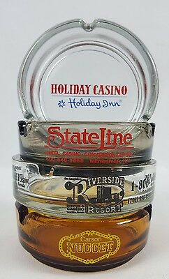 Hotel Casino Nevada Vintage Glass Ashtray Lot of 4 Nugget Riverside State Line