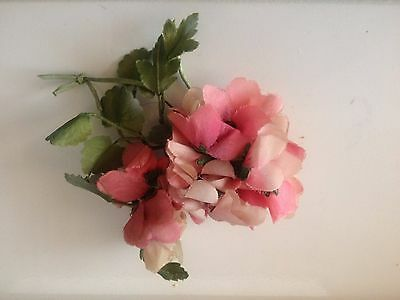 Antique Millinery Flower Collection Vintage Pink Pure Silk Blossoms