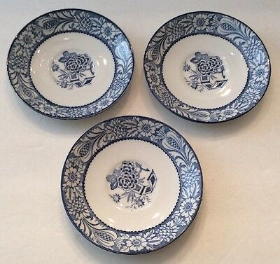 Lo3 SAUCERS WOODS WARE 'WINCANTON' BLUE BOTANICAL MOTIF. Ca 1920-30 Wood & Sons