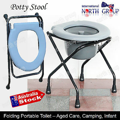 Folding Bedside Commode Potty Chair Portable Mobile Toilet Disability Aged Care