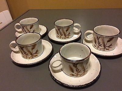 Stonehenge Midwinter Wild Oats Set 5 cups mugs saucers England Wedgwood