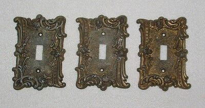 Lot of Three Vintage Edmar Ornate Floral Brass / Metal Light Switch Plate Covers