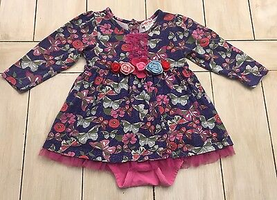 BABY NAY Blue Pink Red Green Floral Butterfly Print One Piece Romper Dress ~