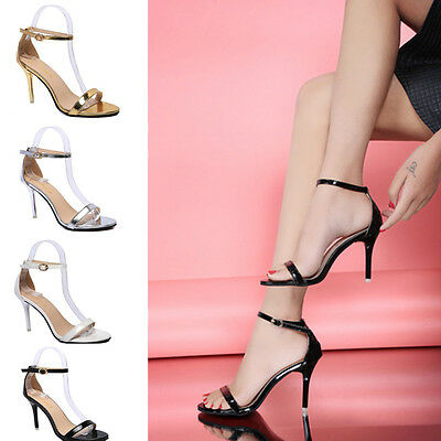 Ladies Women Buckle Strappy Shoes Stiletto High Heels Summer Party Prom Sandals