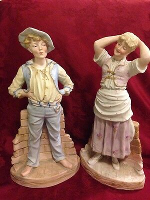 Antique Large German Flatback Figurine Pair Flirting Boy And Girl