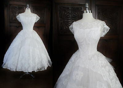 Vintage 50 White Illusion Lace Beaded Full Skirt Wedding Dress Gown XS