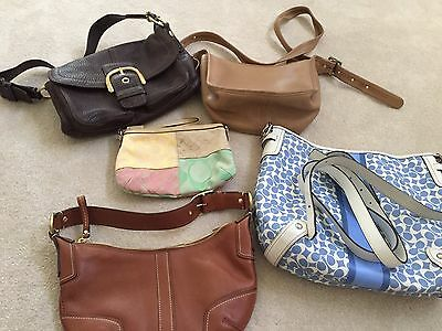 Genuine Collection Of 6 Coach Leather Shoulder Bag Purse Tote