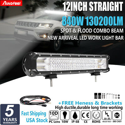 10D Quad Row 12Inch 840W CREE LED Light Bar Spot Flood For JEEP Truck SUV 4X4 15