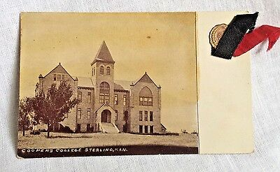 1913 Cooper's College Sterling KS Postcard w/ Ribbon
