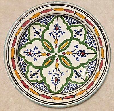 Antique Old Signed Safi Art Pottery Plate Moroccan Middle Eastern Signed Ceramic