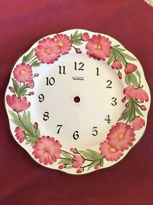 """Rare Stangl Hand Painted Clock Face 10"""" Plate Beautiful Flowers"""