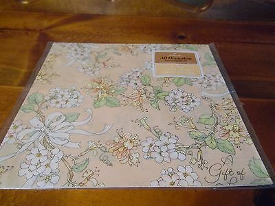 Vintage Hallmark Peach Pastel A GIFT OF LOVE Gift Wrap Wrapping Paper New