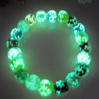 50/100PCS Luminous Glow In the Dark Glass Spacer Beads Crystal For Bracelet 10mm