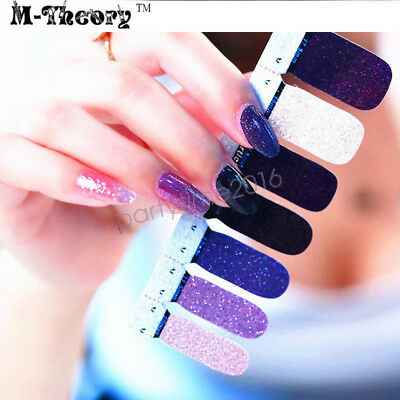 Glitter Adhesive Nails Wraps Stickers 3D Shimmer Nails Arts Decals