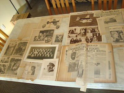 Lot of 340.  Charles Lindbergh Newspaper Clippings in 44 Page Scrapbook