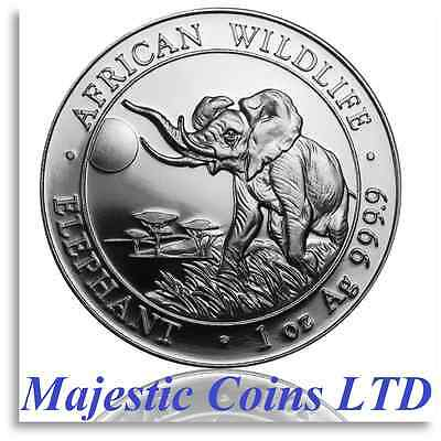 Air-Tite® 2016 Somalia Elephant Silver African Wildlife 1 Oz Majestic Coin