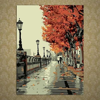 DIY Stree Scene Oil Painting Paint By Numbers Drawing On Canvas Home Wall Decor