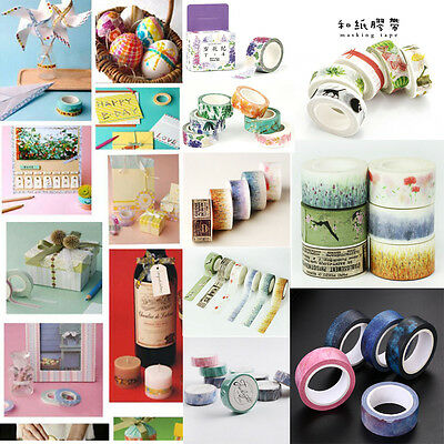 Floral Washi Sticker Crafts Roll Paper Masking Adhesive Tape Creative DIY Decor