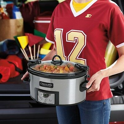 Slow Cooker Programmable Non Stick Stainless Steel Locking Lid Kitchen 6 Quart