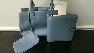 NWT FRANKLIN COVEY Business Laptop Tote Bag Blue w/ Matching Binder L