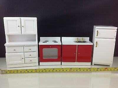 Dollhouse Miniature Kitchen Red/White Wood Furniture Table Stove Frige Set 1:12
