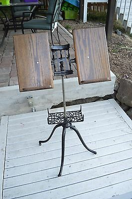 Antique Dictionary Stand - Vintage Victorian Cast Iron Oak Bible Book Holder