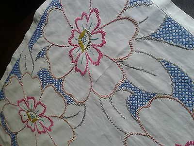 Vintage Large Rectangular Hand  Embroidered Table Cloth- Bright Bold Design