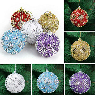 Christmas Rhinestone Glitter Baubles Balls Xmas Tree Ornament Decoration 8CM GT