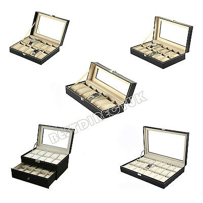 6/10/12/20/24 Faux Leather Watch Display Box Storage Jewellery Glass Top Case
