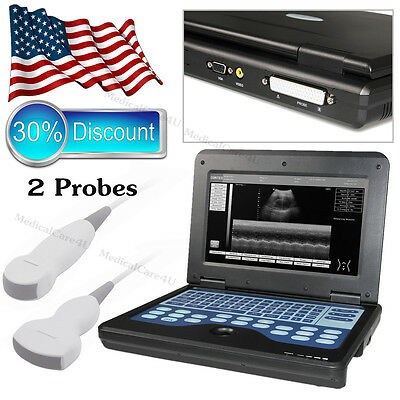 US ship,Digital Ultrasound Scanner Laptop Machine With 2 Probes,Convex + Cardiac