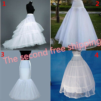 Hot White Bridal Train/Mermaid/A-line Hoop Crinoline Petticoat Slip Underskirt