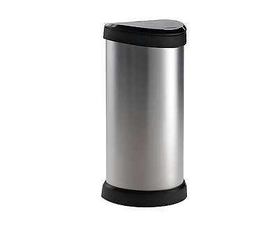 Touch Bin Larger 40L Lid Easy Clean Kitchen Recycling Push Modern Home One Touch
